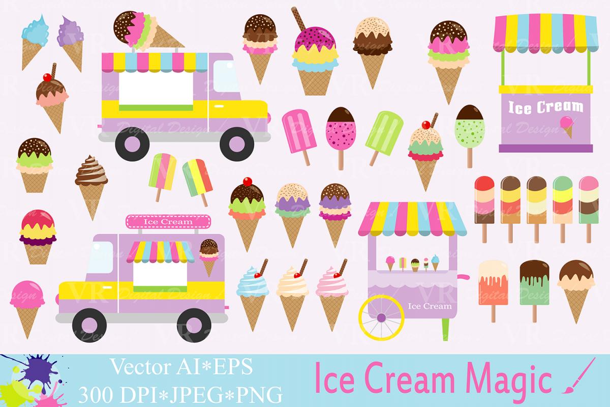 Cream summer graphics truck. Ice clipart vector