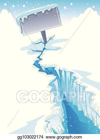 Vector art crack sign. Iceberg clipart blank