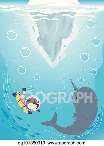 Narwhal clipart little. Vector illustration kid iceberg
