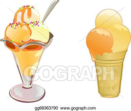 Icecream clipart caramel sundae. Vector stock ice cream
