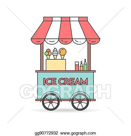 Icecream clipart cart. Eps vector ice cream