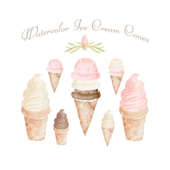 Icecream clipart eight. Watercolor ice cream cone