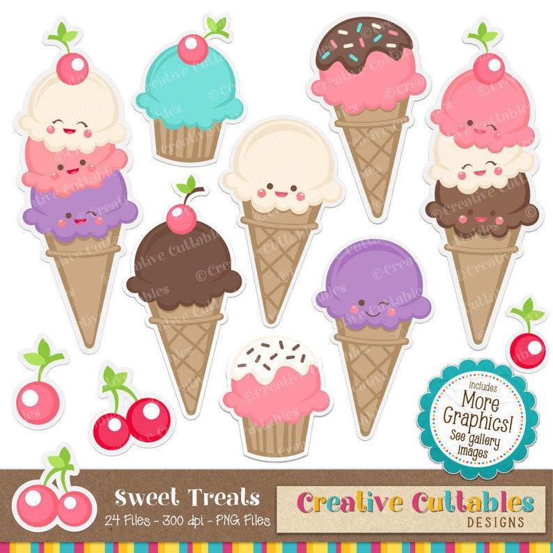 Ice cream for scrapbooking. Party clipart icecream