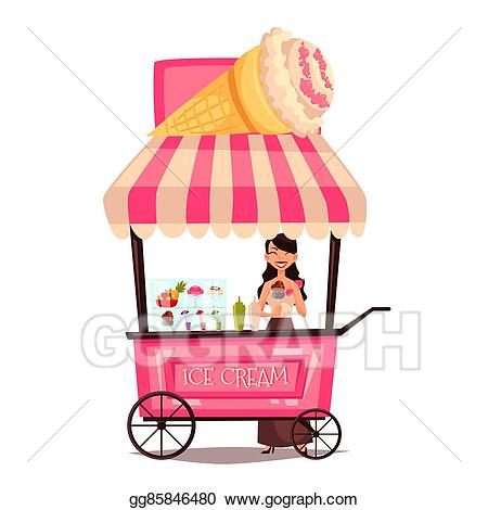 Drawing mobile street with. Icecream clipart seller