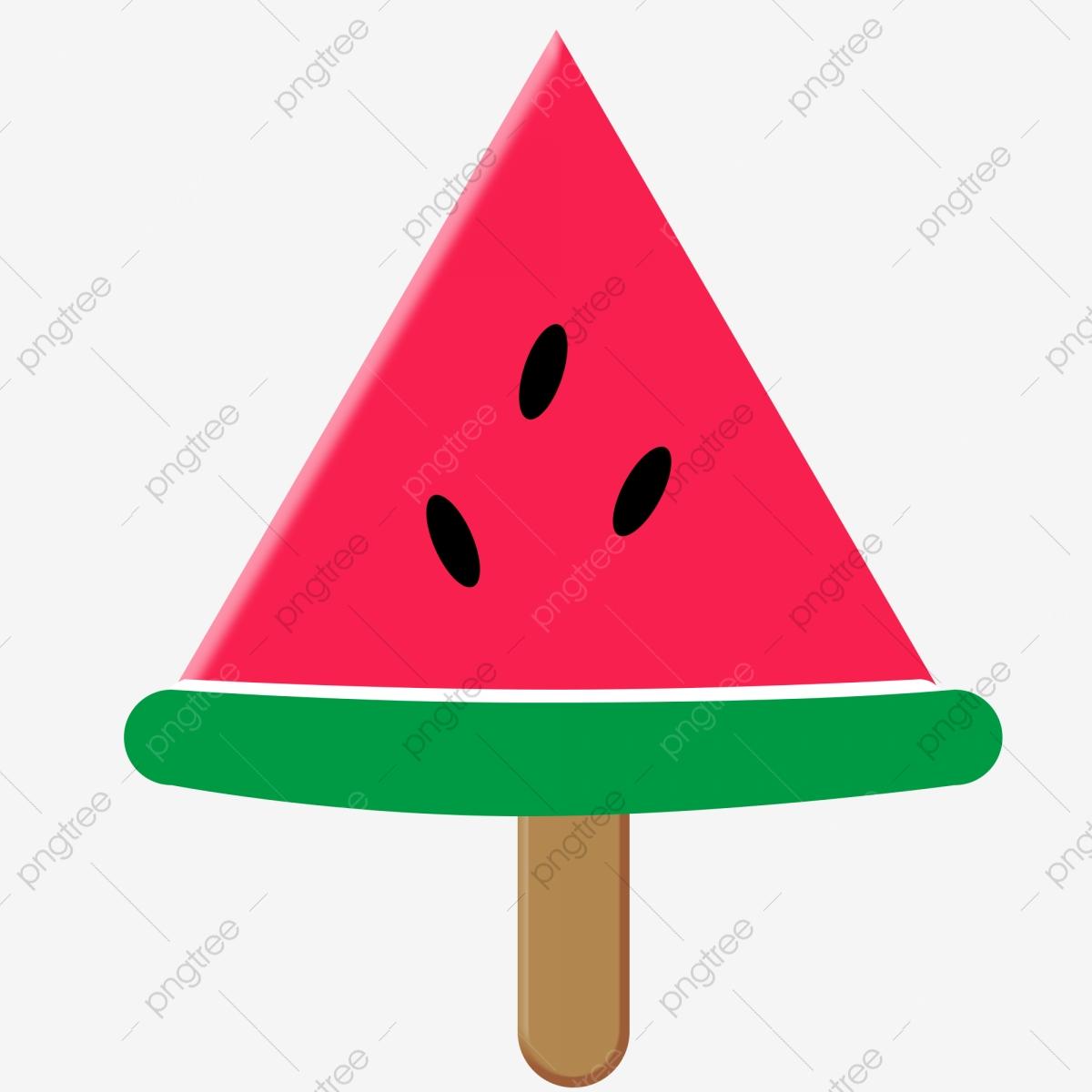 Cartoon hand drawn watercolor. Icecream clipart triangle watermelon