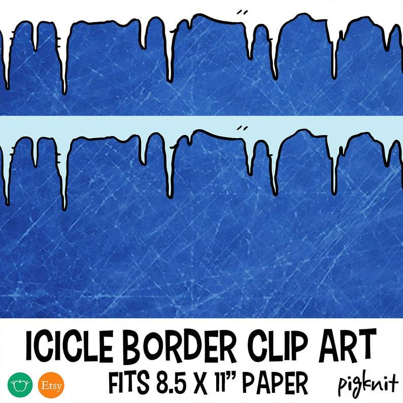 Icicle clipart frame. Border printable digital paper