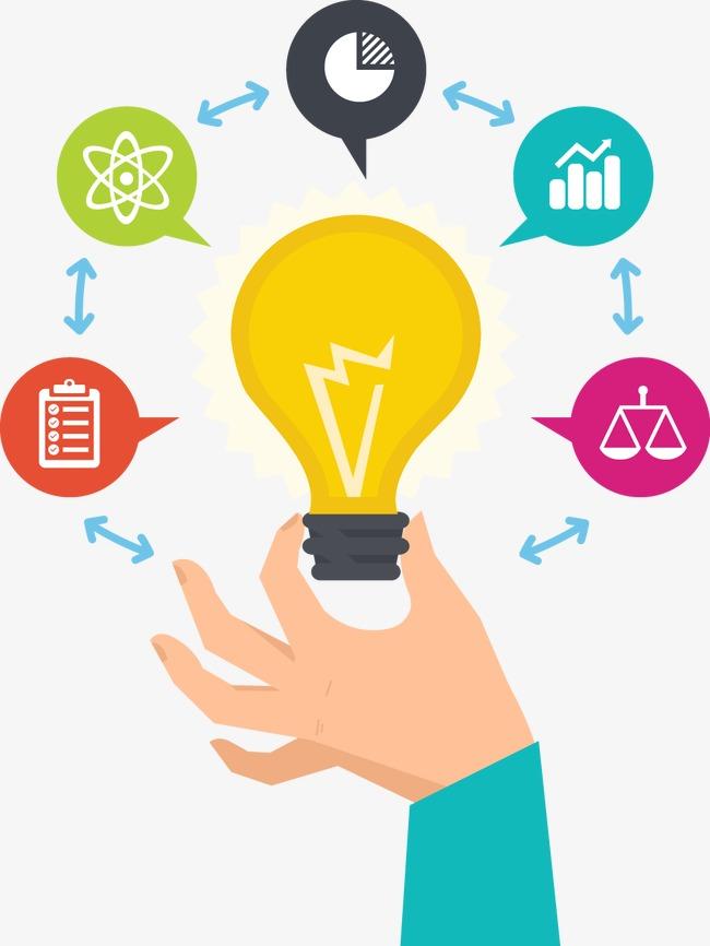 Creative light bulb electric. Idea clipart