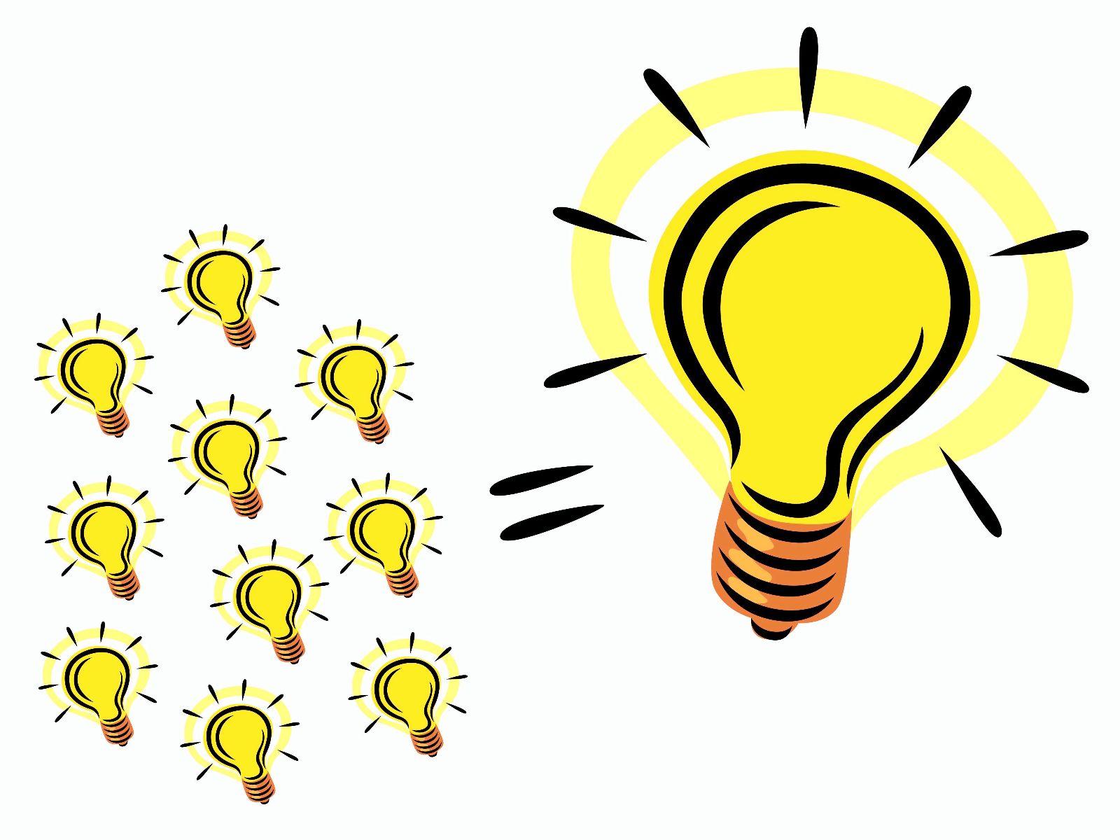 Bright light bulb clip. Idea clipart