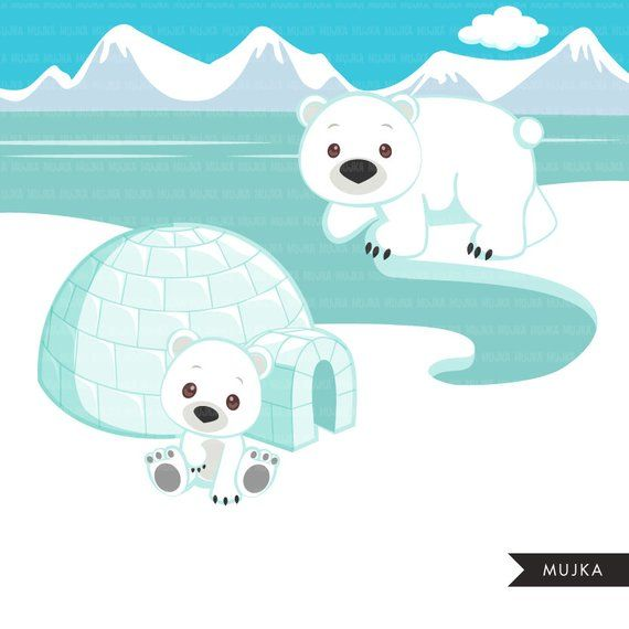 Animals cute winter igloo. Walrus clipart animal arctic