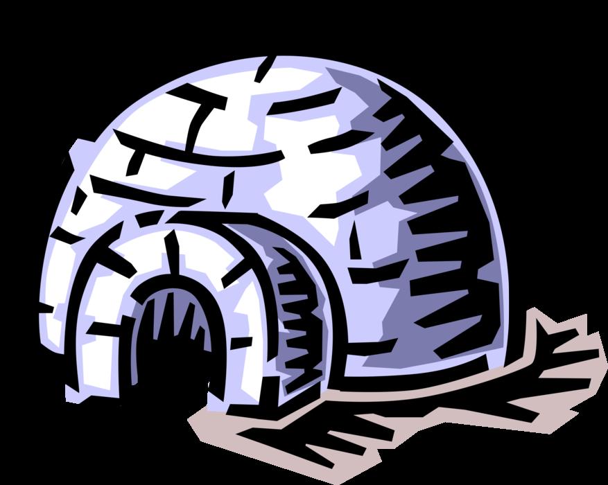 Inuit eskimo dwelling vector. Igloo clipart arctic
