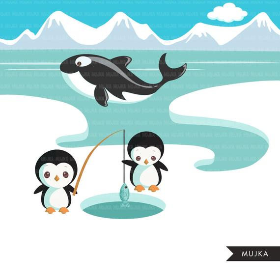 Animals cute winter whale. Igloo clipart arctic region