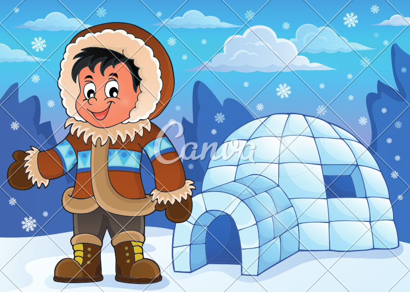 In an icons by. Igloo clipart man