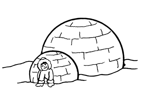 Igloo clipart printable. Inuit coloring page free