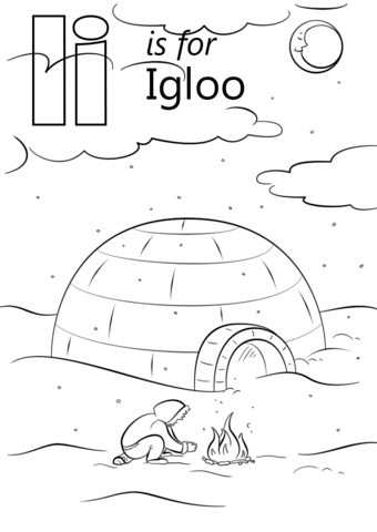 Igloo clipart printable. Letter i is for