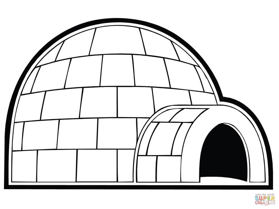 Download coloring book . Igloo clipart printable