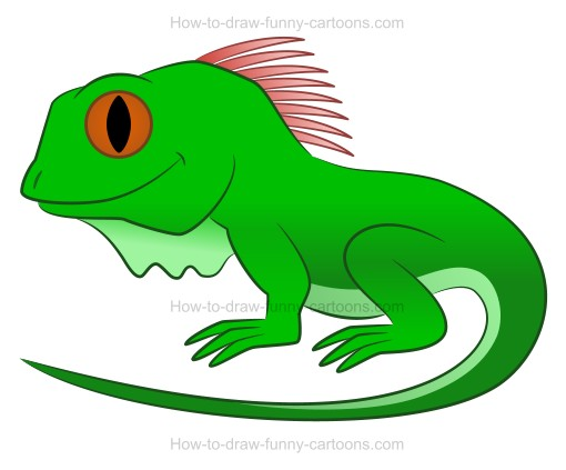 Iguana clipart. Green simple pencil and