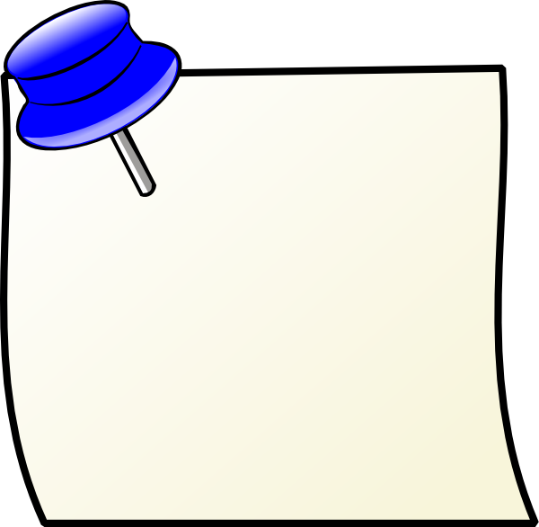 Important clipart memo. Note with pin clip