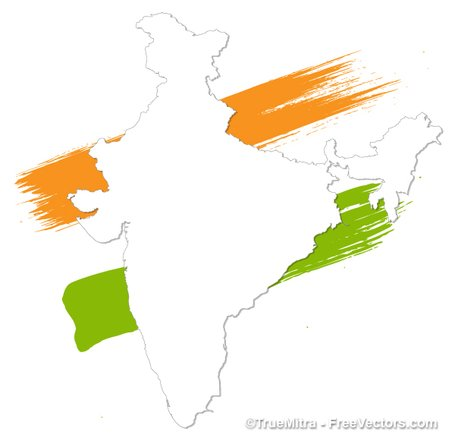 Free map and vector. India clipart
