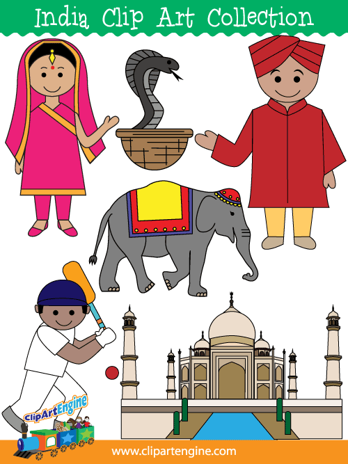 Clip art collection for. India clipart