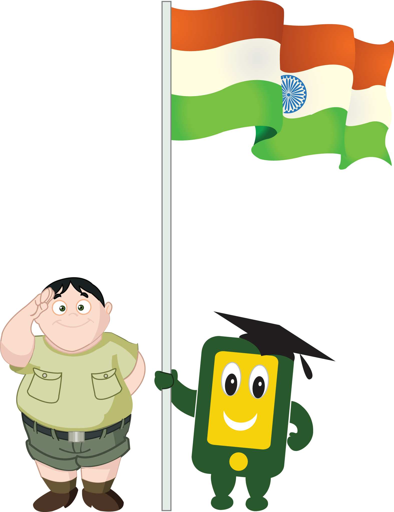Boy with indian flag. Indians clipart holding