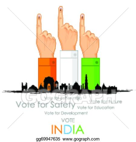 Voting clipart clipart india. Vector art hand with