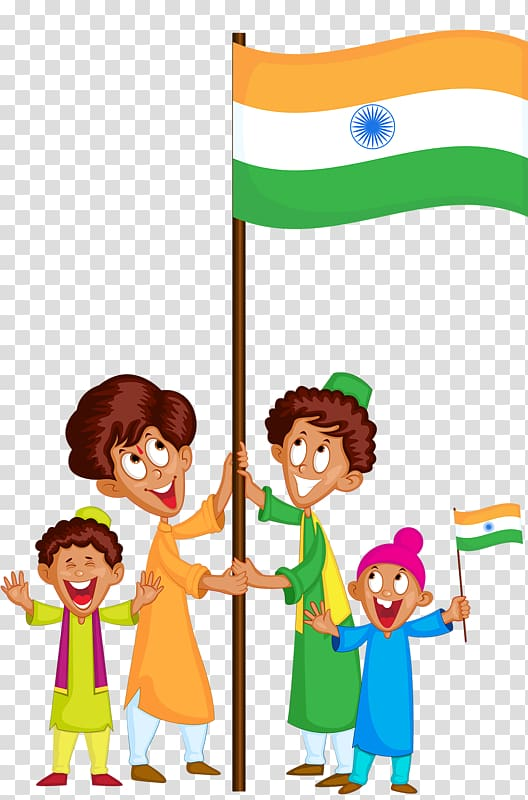 Indians clipart holding. People india flag illustration