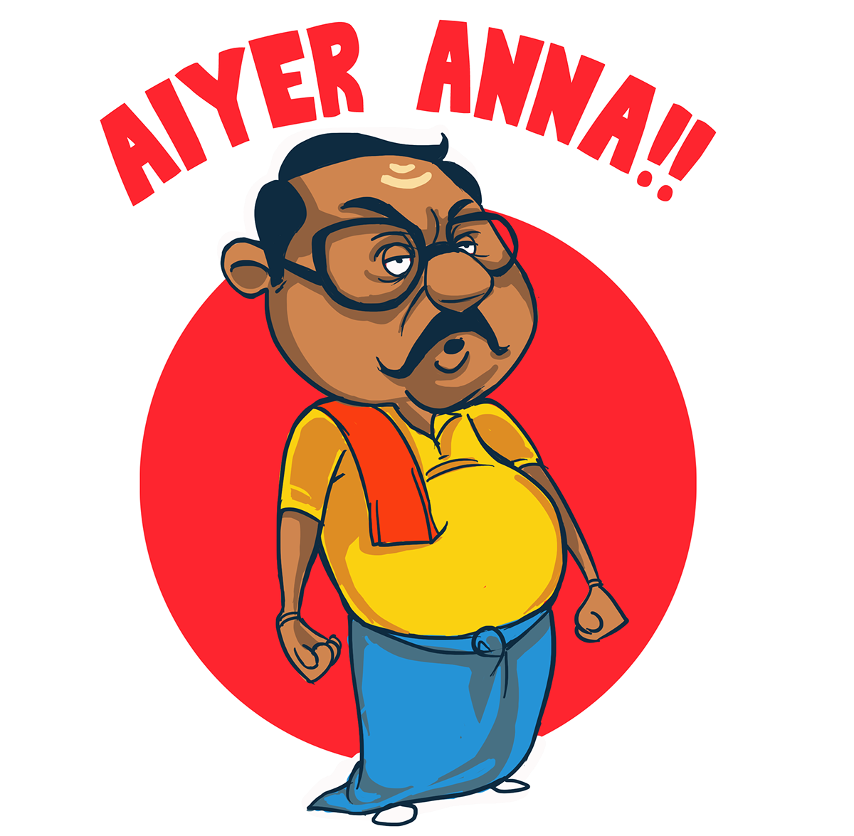 India clipart south. Aiyer anna sticker design