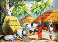 India clipart village.  best painting images