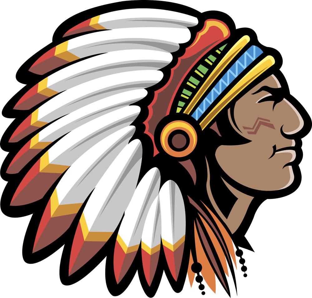 Native american mascot controversy. United states clipart cartoon