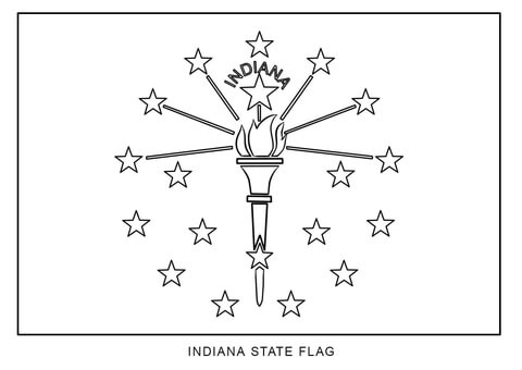 Flag of coloring page. Indiana clipart simple