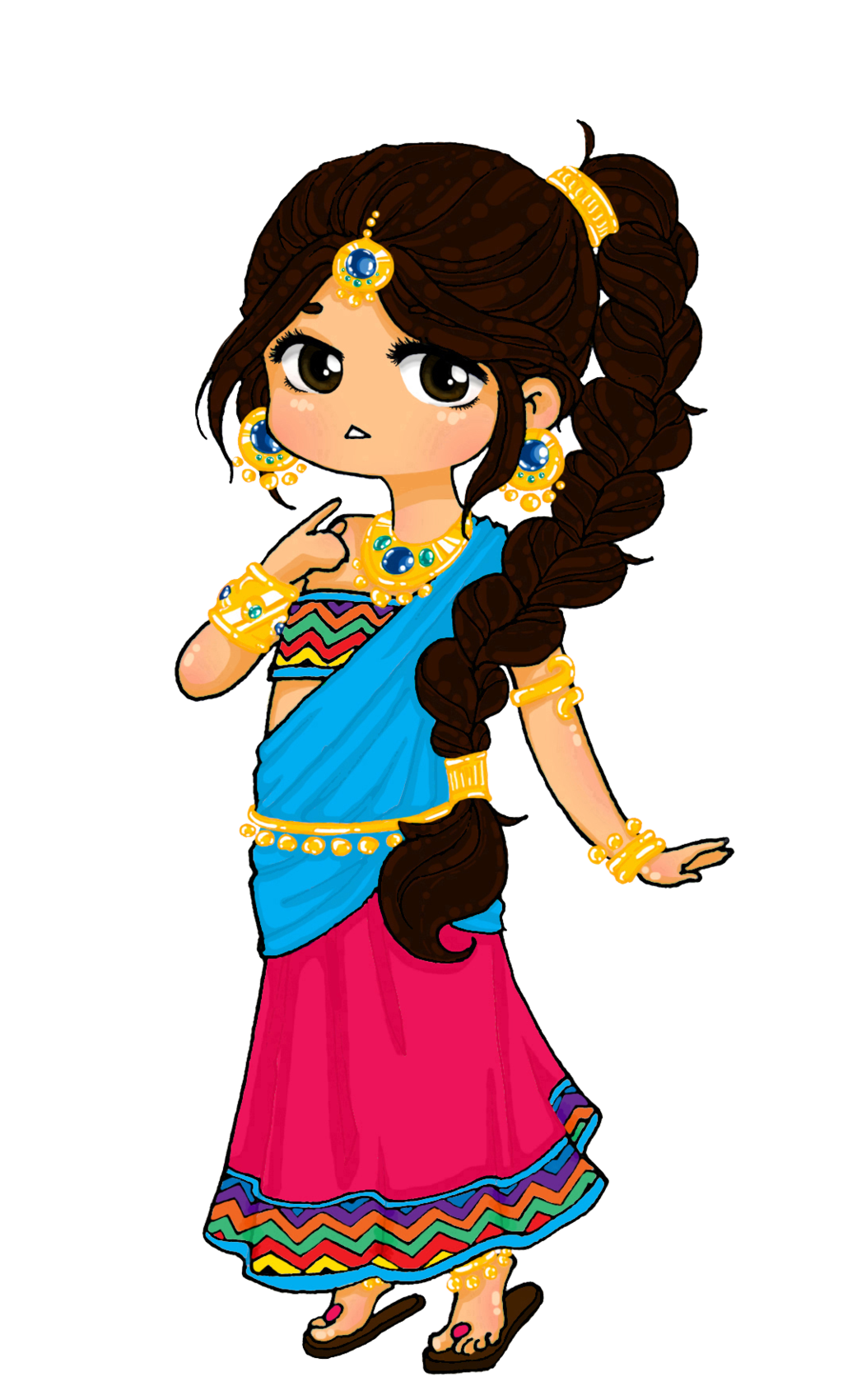 Indians clipart cool. Indian princess drawing chibi