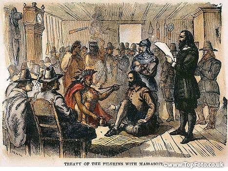 Pilgrims treaty br the. Indians clipart plymouth colony