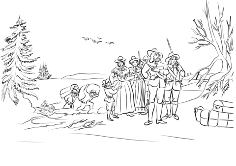 Indians clipart plymouth colony. Pilgrims coming ashore at