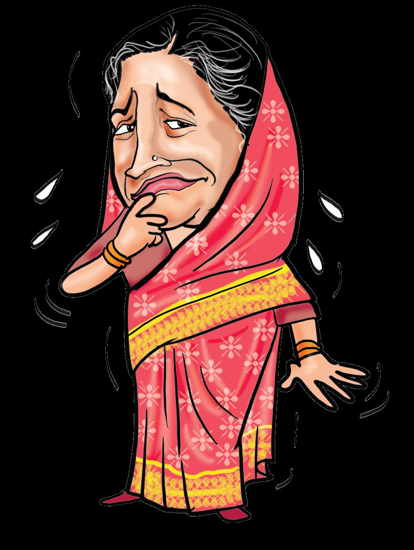 Indians clipart sad. Savitri jindal caricature cartoon