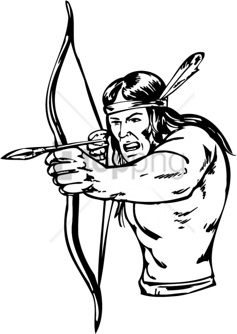 Native american arrow drawing. Indians clipart shooting bow