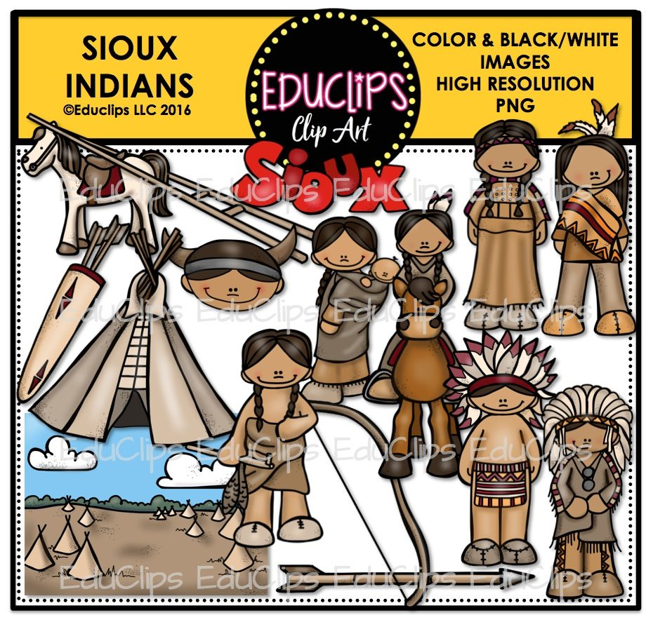 Clip art bundle color. Indians clipart sioux