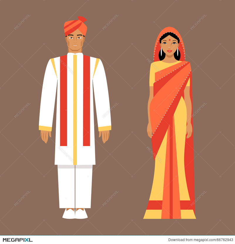 And woman in clothes. Indians clipart traditional man indian