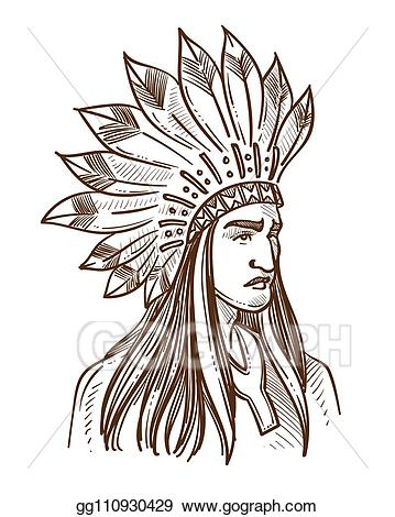 Indians clipart tribe leader. Vector stock injun or