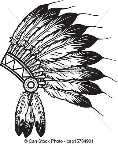 Indians clipart vector. Of indian chief headdress