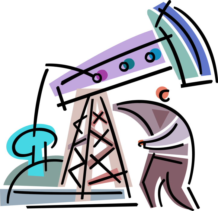 Worker with oil well. Industry clipart fossil fuel