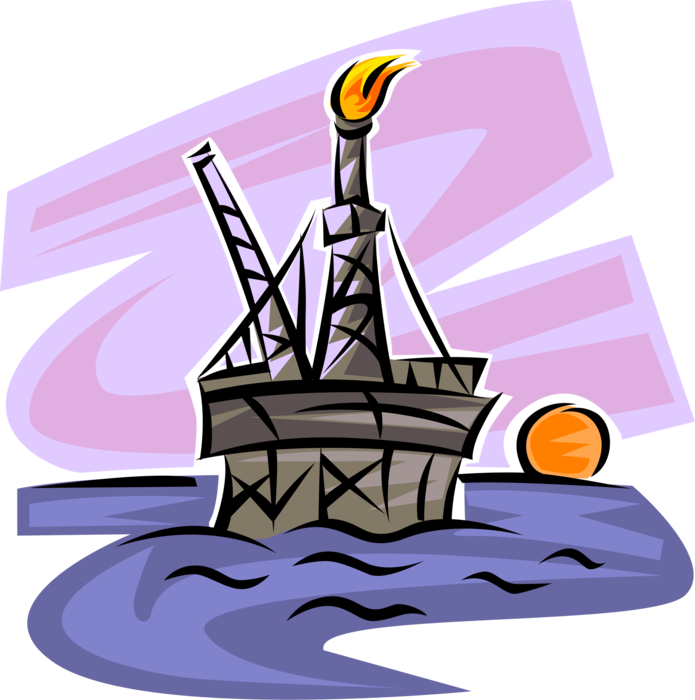 Offshore oil rig derrick. Industry clipart fossil fuel