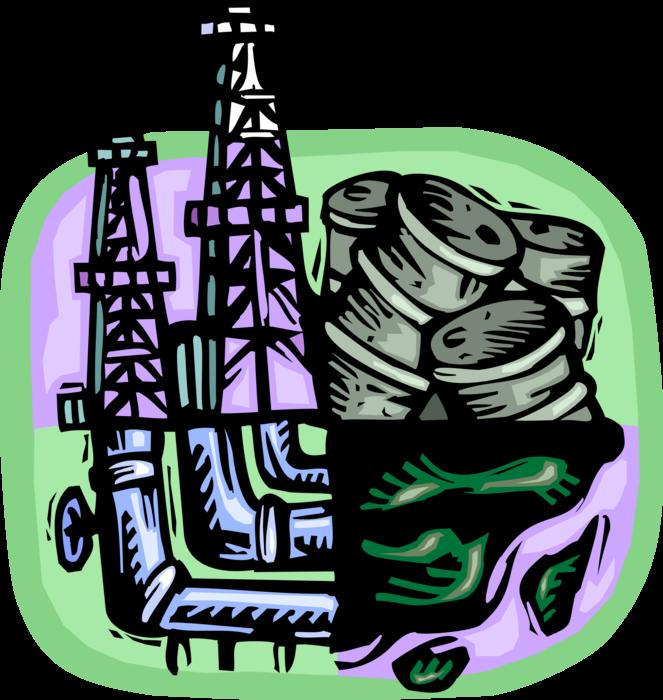 Industry clipart fossil fuel. Oil derrick well barrels