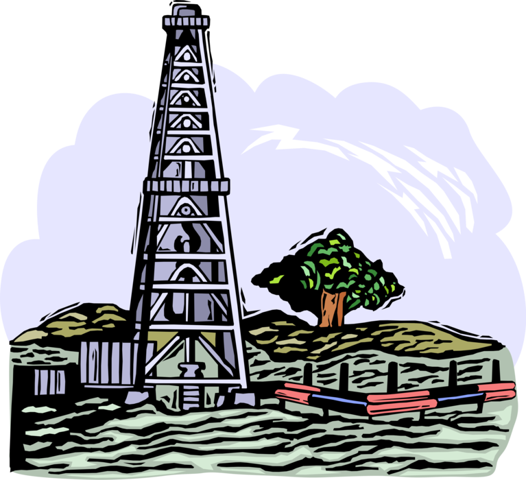 Industry clipart fossil fuel. Oil drilling platform derrick
