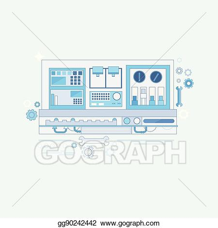 Vector illustration . Industry clipart industrial automation