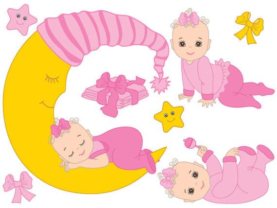 Infant clipart. Baby girl digital vector