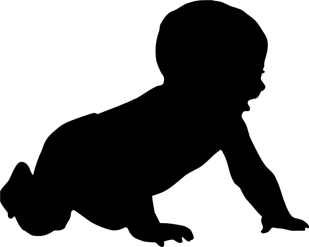 Silhouette clip art black. Infant clipart 2 baby