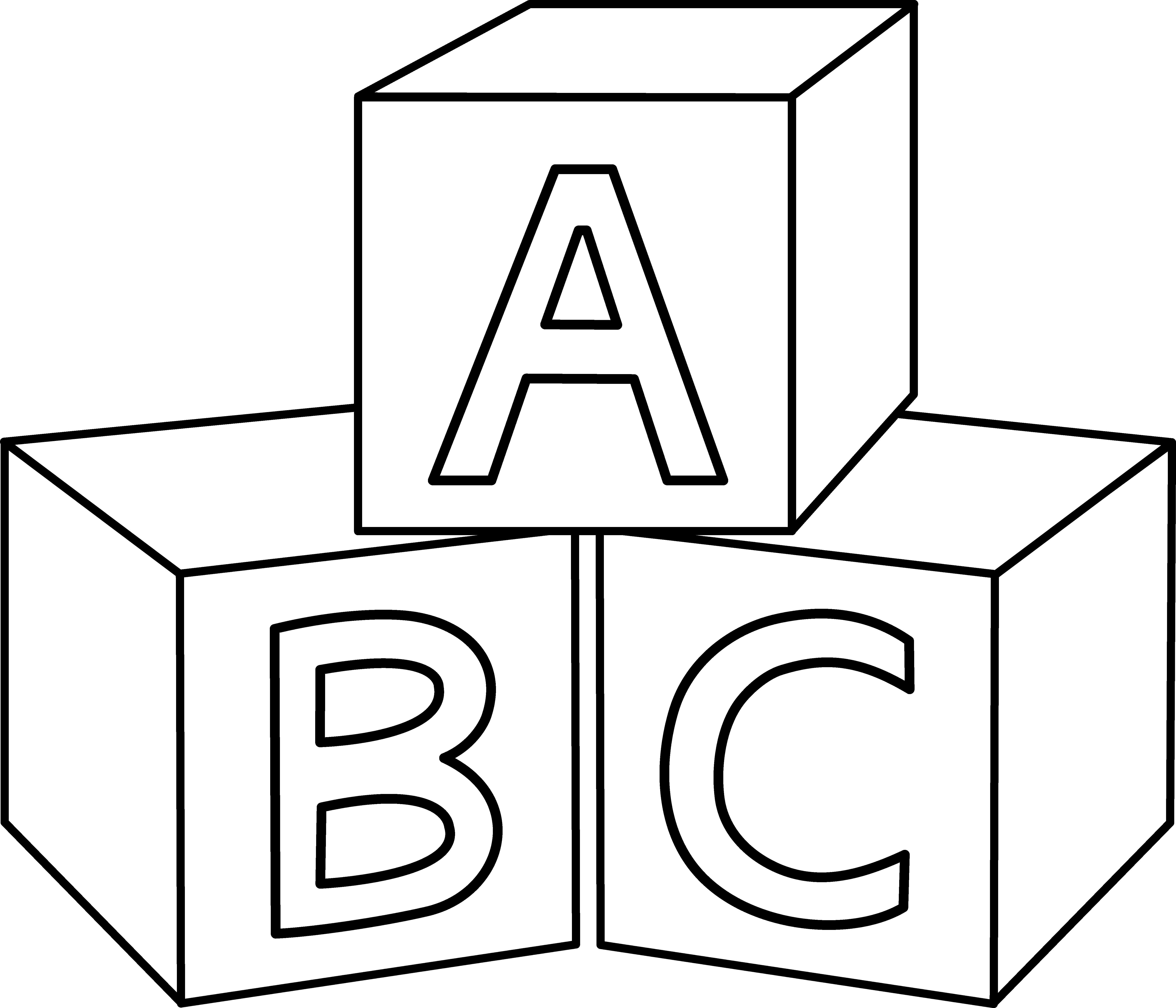 Abc blocks coloring page. Infant clipart alphabet block