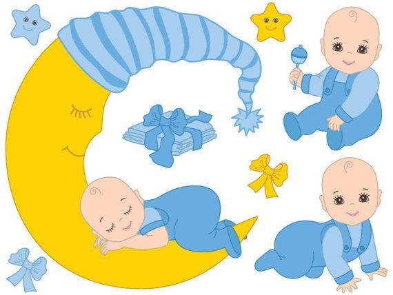 Infant clipart baby boy. Digital vector blue