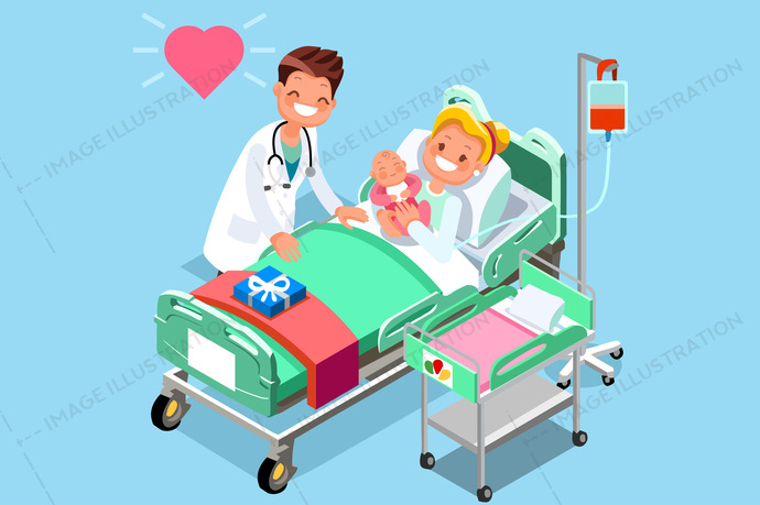 Doctor and medical isometric. Infant clipart baby clinic