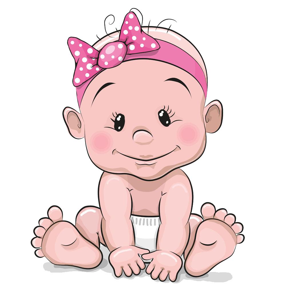 Girl cartoon illustration cute. Infant clipart baby tummy time
